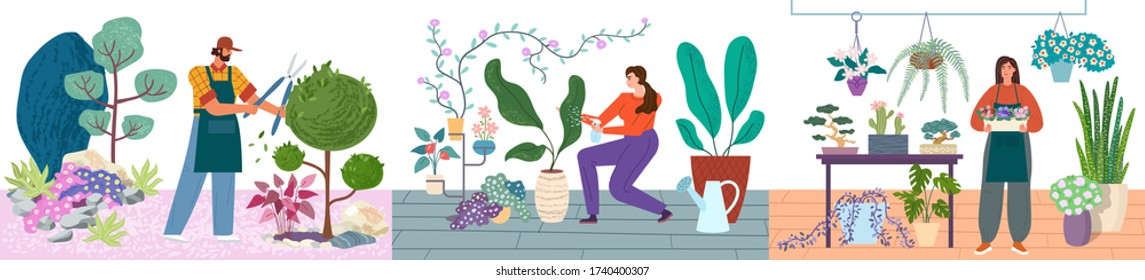 Gardeners and florists caring for plants vector illustration set. Man pruning bushes, women water and care for indoor plants. Gardeners and florists cartoon concept.