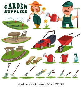 Gardeners man and woman, gardening supplies and tools. Teak furniture, benches, trellis, work leather gloves, watering can, wheelbarrow, spade, lawn mower, auto watering for grass. Vector cartoon set.
