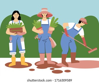 Gardeners. Working in the garden. Vector illustration. Can be used as print, postcard, element design, web or magazine illustration.