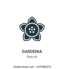Gardenia vector icon on white background. Flat vector gardenia icon symbol sign from modern nature collection for mobile concept and web apps design.