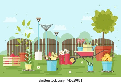 Gardening and agriculture equipment and tools against wooden fence and garden plants on background - wheelbarrow, watering can, shovel, rake, gloves, pruner, rubber boots, trowel. Vector illustration.