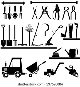 Gardening and agriculture tools collection - vector silhouette