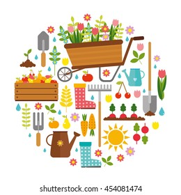 gardening. big vector set. cart with beautiful flowers, tools for the garden.  colored icons.