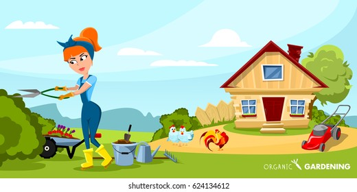 Gardening colored cartoon composition girl is working in the garden vector illustration