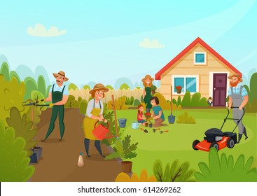 Gardening colored cartoon composition men and women are busy cleaning the garden vector illustration
