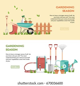 Gardening concept poster. Flat vector illustration with seeding in pots, spade, garden fork, trowel, wheelbarrow and hose reel. Template background for site with sets of objects