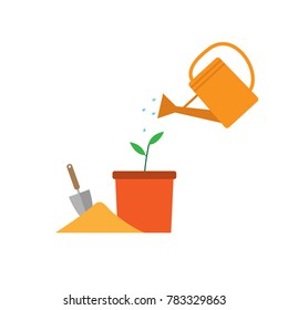 Gardening concept. Watering plant. flat design vector illustration