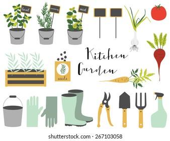 Gardening design elements. Vector illustration.