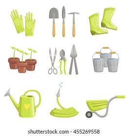 Gardening Equipment Set Of Icons