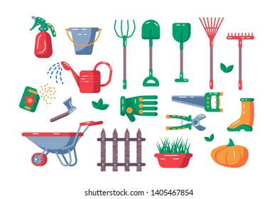 Gardening equipment set vector illustration. Collection consists of kaleyards tools and accessoires flat style design. Agriculture and farming concept. Isolated on white