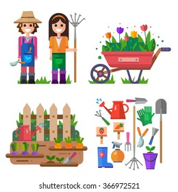 Gardening and everything linked with it! Happy boy and girl gardening, garden cart with  beautiful tulip flowers, rural fence scenery, garden work tools isolated. Flat vector illustration set.