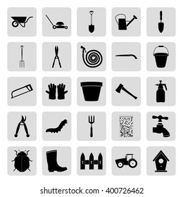 Gardening and farming black simple  vector icons set