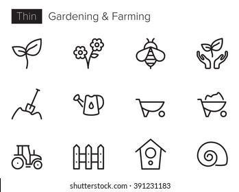 Gardening and Farming Vector icons set Thin line outline