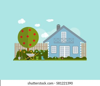 Gardening Flat Background Vector Illustration. Garden Tools, Tree, Fence and Bush on Natural Background. Illustration in Modern Flat Style. EPS10