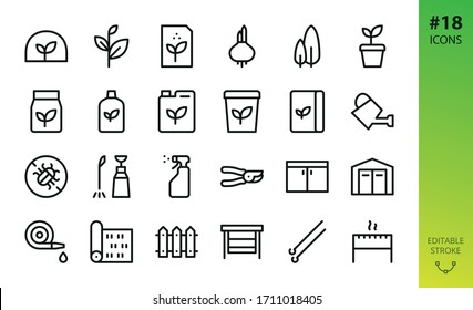 Gardening, garden buildings and tools icons set. Editable stoke vector icons.