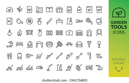 Gardening, garden tools and buildings isolated icons set. Set of power tools, greenhouse, seeds, shed storage, garden chair, tent, bench, lawnmower, trimmer, fence, gate, pool, flowerpot vector icon