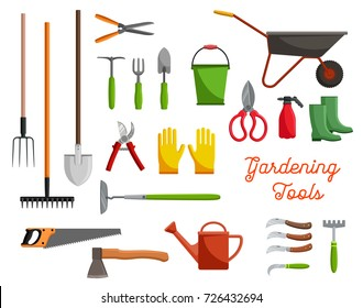 Gardening or gardener planting work tools icons. Vector isolated set of garden rake, spade or watering can and bucket, tree cutter scissors and farmer boots with wheelbarrow and pitchfork, ax and saw