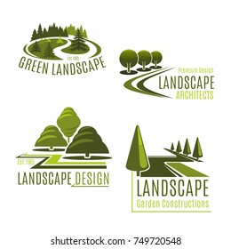 Gardening or green landscape design company icons set. Vector isolated green tree park, nature eco village or woodland and parkland for landscaping horticulture and garden planting association