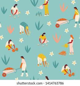Gardening and harvesting seamless pattern. Farmer gardener cartoon girl growing vegetables and flowers on the farm illustration in vector.