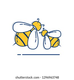 Gardening icon set | Bee Icon - with Outline Filled Style
