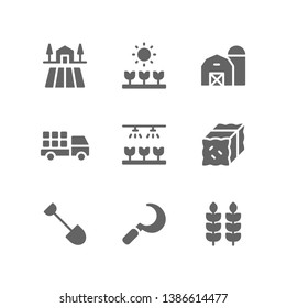Gardening icon set including farm, plant, barn, agriculture, irrigation, hay, bale, hoe, sickle, wheat