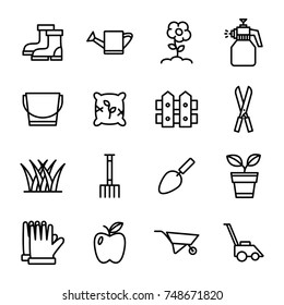 Gardening Icons . Outline icon collection - Flower and Gardening