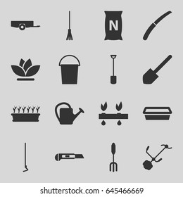 Gardening icons set. set of 16 gardening filled icons such as barrow, bucket, shovel, pitchfork, rake, hoe, cutter, watering can, pot for plants, plant in pot, flower
