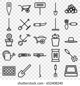 Gardening icons set. set of 25 gardening outline icons such as shovel and rake, wheel barrow, barrow, mud, shovel, pitchfork, rake, hoe, cutter, wheelbarrow, watering can
