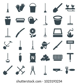 Gardening icons. set of 36 editable filled gardening icons such as shovel and rake, barrow, bucket, mud, shovel, construction, rake, hoe, watering can, pot for plants