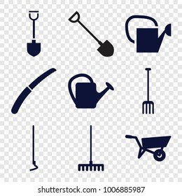 Gardening icons. set of 9 editable filled gardening icons such as wheel barrow, pitchfork, rake, hoe, gardening knife, watering can