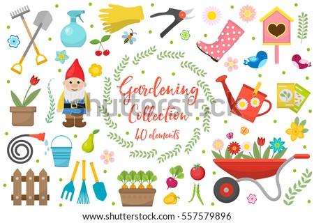Gardening Icons Set Design Ele...