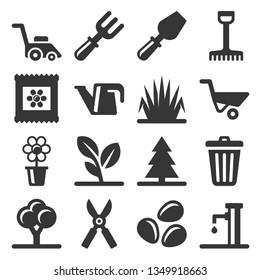 Gardening Icons Set on White Background. Vector