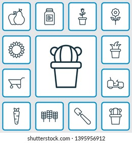 Gardening icons set with pushcart, cereal, gardener tool and other wheat elements. Isolated vector illustration gardening icons.
