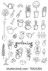gardening icons vector doodle collection