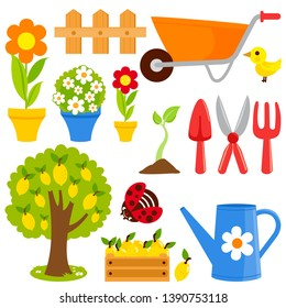 Gardening illustration collection with flowers, plants, wheelbarrow and gardening equipment in springtime. Vector illustration