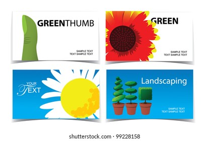 Gardening Landscaing Business Card Set EPS 8 vector, grouped for easy editing. No open shapes or paths.