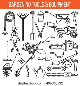 Gardening and Landscaping Tools and Equipment. Line art modern design, isolated on white background. Elements for icon, banner.