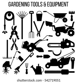 Gardening and Landscaping Tools and Equipment silhouettes, modern design, isolated on white background. Elements for icon, banner, detailed vector illustration.