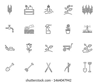 Gardening line icons set. linear style symbols collection outline signs pack. vector graphics. Set includes icons as spike of wheat, watering sprinkler, field, vegetable box, seedling, hand with plant
