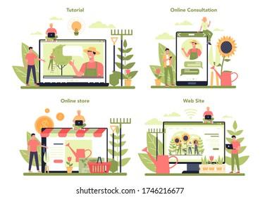 Gardening online service or platform set. Idea of horticultural designer business. Online shop, website, consultation or video tutorial. Isolated flat illustration