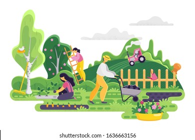 Gardening people on garden background. Spring landscape with garden tools, woman planting plants and man with a cart, girl on a ladder collects crops from a tree. Vector illustration. Panorama.