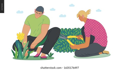Gardening people set, spring - modern flat vector concept illustration of young brunette man sitting on the ground in squatting position planting flower. A blond woman cutting a bush with hedge