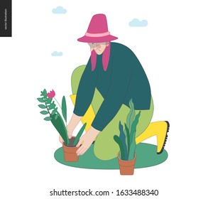 Gardening people, spring - modern flat vector concept illustration of a red-hired woman wearing a hat sitting on the ground in the squatting position planting a flower. Spring gardening concept