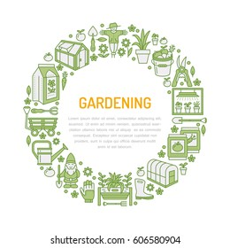 Gardening, planting and horticulture banner with vector line icon. Garden equipment, organic seeds, greenhouse, pruners watering can and other tools. Vegetables, flower cultivation thin linear poster