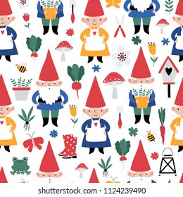 Gardening seamless pattern with cute gnomes on white background