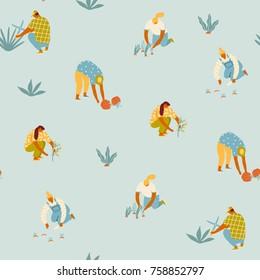 Gardening seamless pattern. Farmer gardener cartoon girl growing vegetables and flowers on the farm illustration in vector.