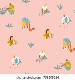Gardening seamless pattern. Farmer gardener cartoon girl growing vegetables and flowers in the garden  illustration in vector.