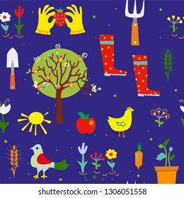 Gardening seamless pattern for kids, funny design. Vector graphic illustration