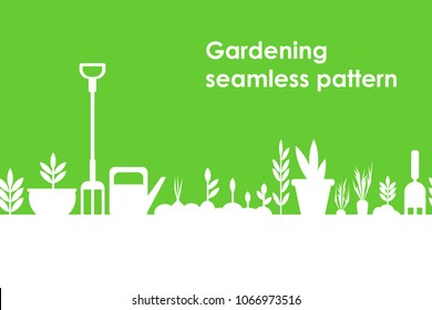 gardening seamless pattern on a green background