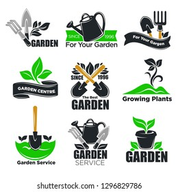 Gardening service and garden plants logo templates for gardener and agriculture. Vector isolated icons of tree leaf and sprout, gardening tools of spade, rake or hoe and watering can